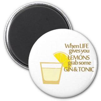 lemons gin and tonic fridge magnets
