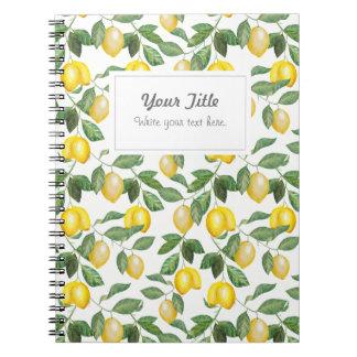 Lemons, illustration. Personalisierbar. Notebook