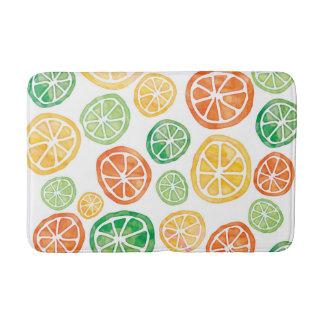 Lemons Limes Oranges watercolor bath mat