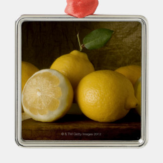 lemons on wood christmas ornament