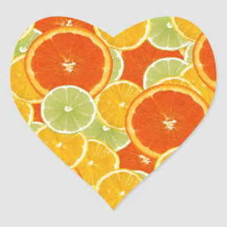 Lemons, oranges and limes heart stickers