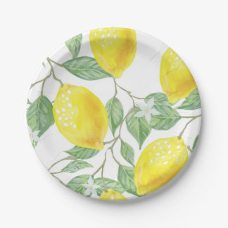 Lemons Print Paper Plates in Yellow and Green