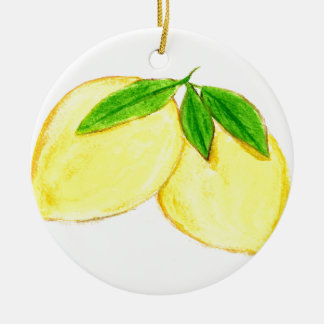 Lemons print Yellow Fruits Christmas Ornament