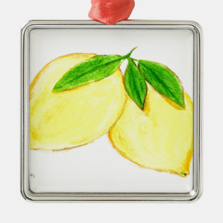 Lemons print Yellow Fruits Silver-Colored Square Decoration