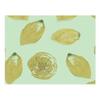 Lemons Sliced and Whole Lemon on Mint Postcard