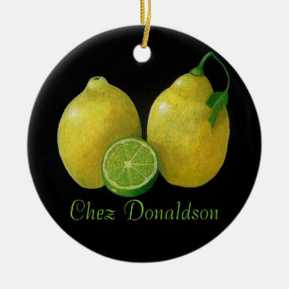 Lemons Still Life Oil on Canvas Painting custom Christmas Ornament