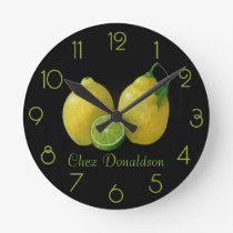 Lemons Still Life Oil on Canvas Painting custom Round Clock