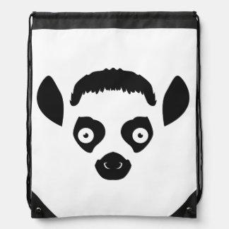 Lemur Face Silhouette Drawstring Bag