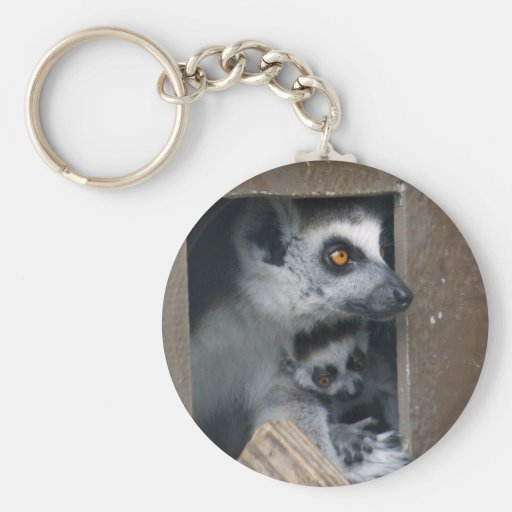Lemur mother and baby keychain