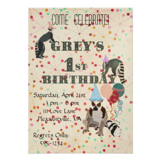 Lemurs Fun Abstract Birthday Invitation