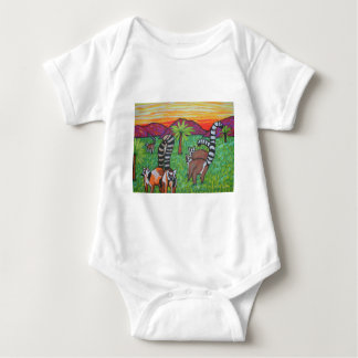Lemurs in the grass baby bodysuit