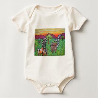 Lemurs in the grass baby bodysuit