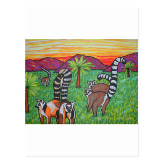 Lemurs in the grass postcard