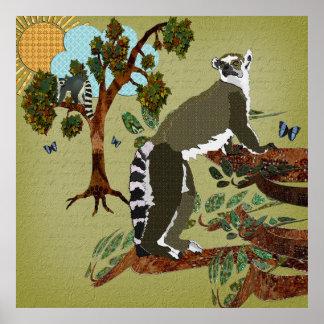 Lemurs Olive Morning Poster