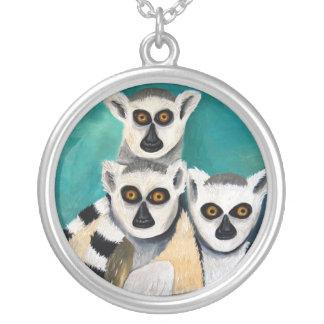 lemurs round pendant necklace