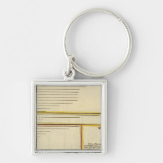 Lengths of rivers Silver-Colored square key ring