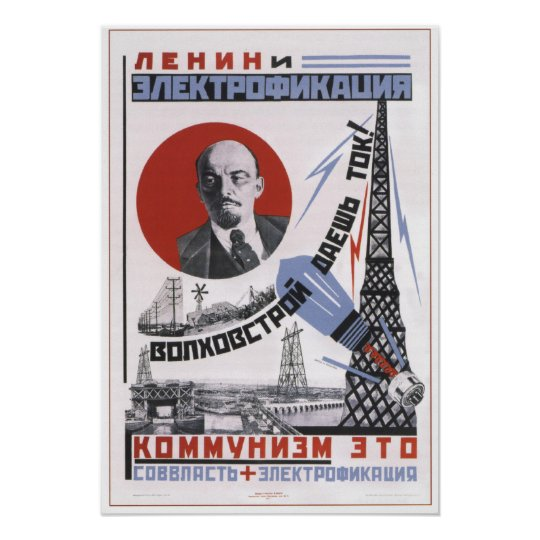 Lenin and Electricity Poster
