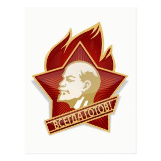 Lenin, Communist Pioneers Pin, Soviet Union Postcard