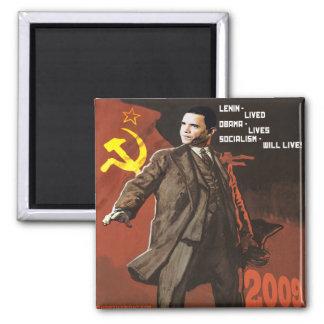 Lenin Lived Obama Lives Square Magnet