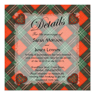 Lennox Scottish clan tartan - Plaid 5.25x5.25 Square Paper Invitation Card
