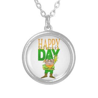Lenny the Leprechaun illustration, on a necklace. Round Pendant Necklace