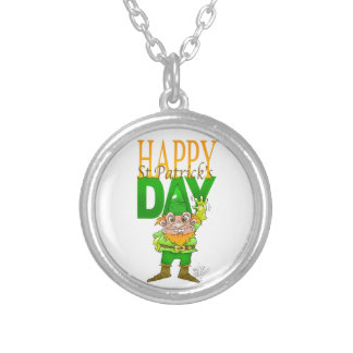 Lenny the Leprechaun illustration, on a necklace. Silver Plated Necklace