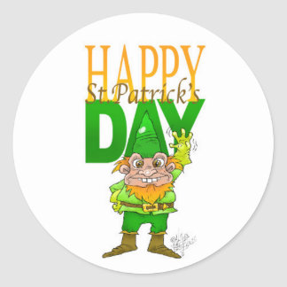 Lenny the Leprechaun illustration, on a sticker. Round Sticker