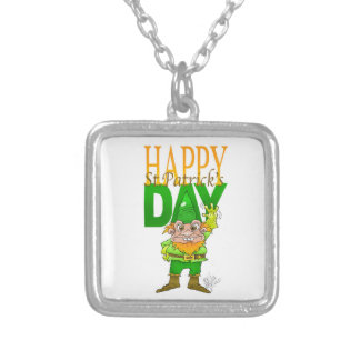 Lenny the Leprechaun, on a necklace. Square Pendant Necklace