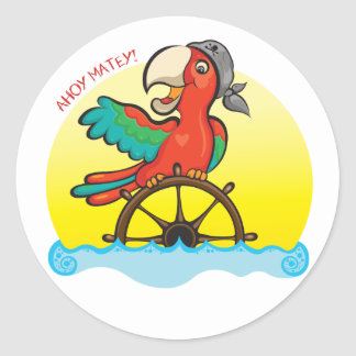 Lenny the Pirate Parrot Round Sticker