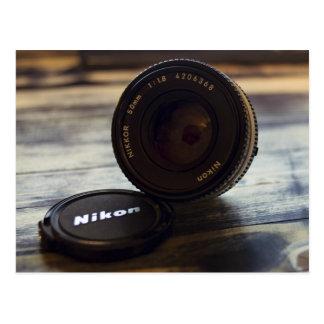 Lens of camera and cap postcard