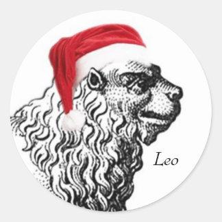 Leo Christmas Classic Round Sticker