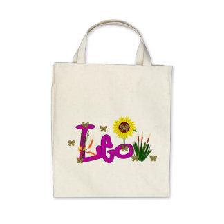 Leo Flowers Tote Bag