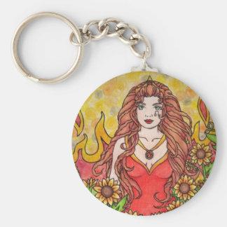 Leo Goddess Basic Round Button Key Ring
