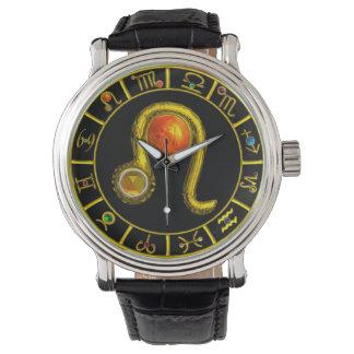 LEO GOLD ZODIAC BIRTHDAY JEWEL,Yellow,Black Watch