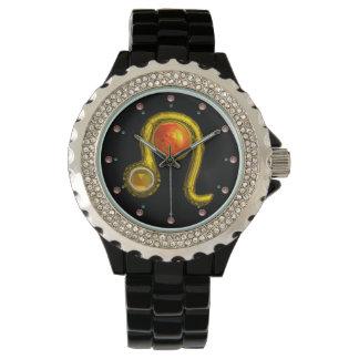 LEO GOLD ZODIAC BIRTHDAY JEWEL,Yellow,Black Watches