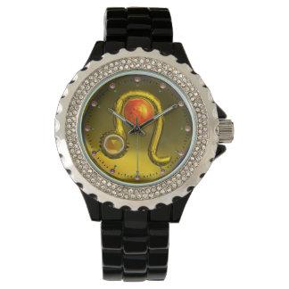 LEO GOLD ZODIAC BIRTHDAY JEWEL,Yellow,Black Wrist Watches