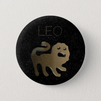 Leo golden sign 6 cm round badge