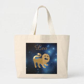 Leo golden sign large tote bag