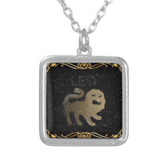 Leo golden sign silver plated necklace