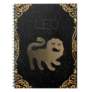 Leo golden sign spiral notebook