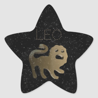 Leo golden sign star sticker