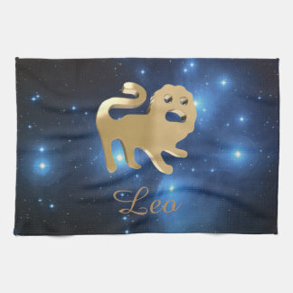 Leo golden sign tea towel