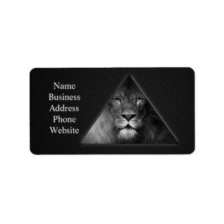 Leo Horoscope Lion Illustration Black and White Address Label