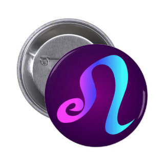 Leo Horoscope Sign Pink Blue Aqua Purple 6 Cm Round Badge