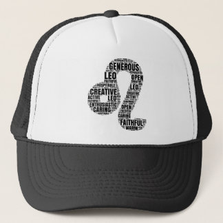 Leo Horoscope Symbol in a Word Cloud! Trucker Hat