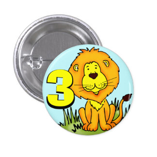 Leo Lion age 3 button - blue, orange & yellow