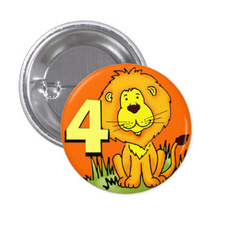 Leo Lion age 4 button - orange & yellow