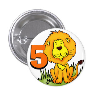 Leo Lion age 5 button - orange & yellow