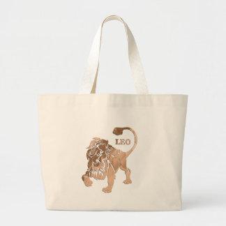 Leo Lion Brushed Gold RED Zodiac Large Tote Bag