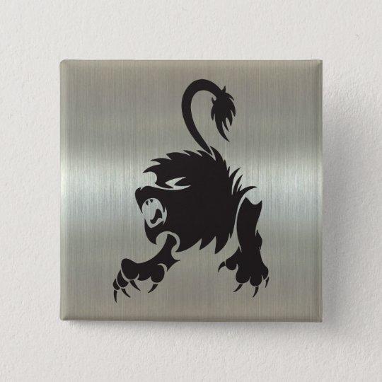 Leo Lion Silhouette on Metallic Effect 15 Cm Square Badge